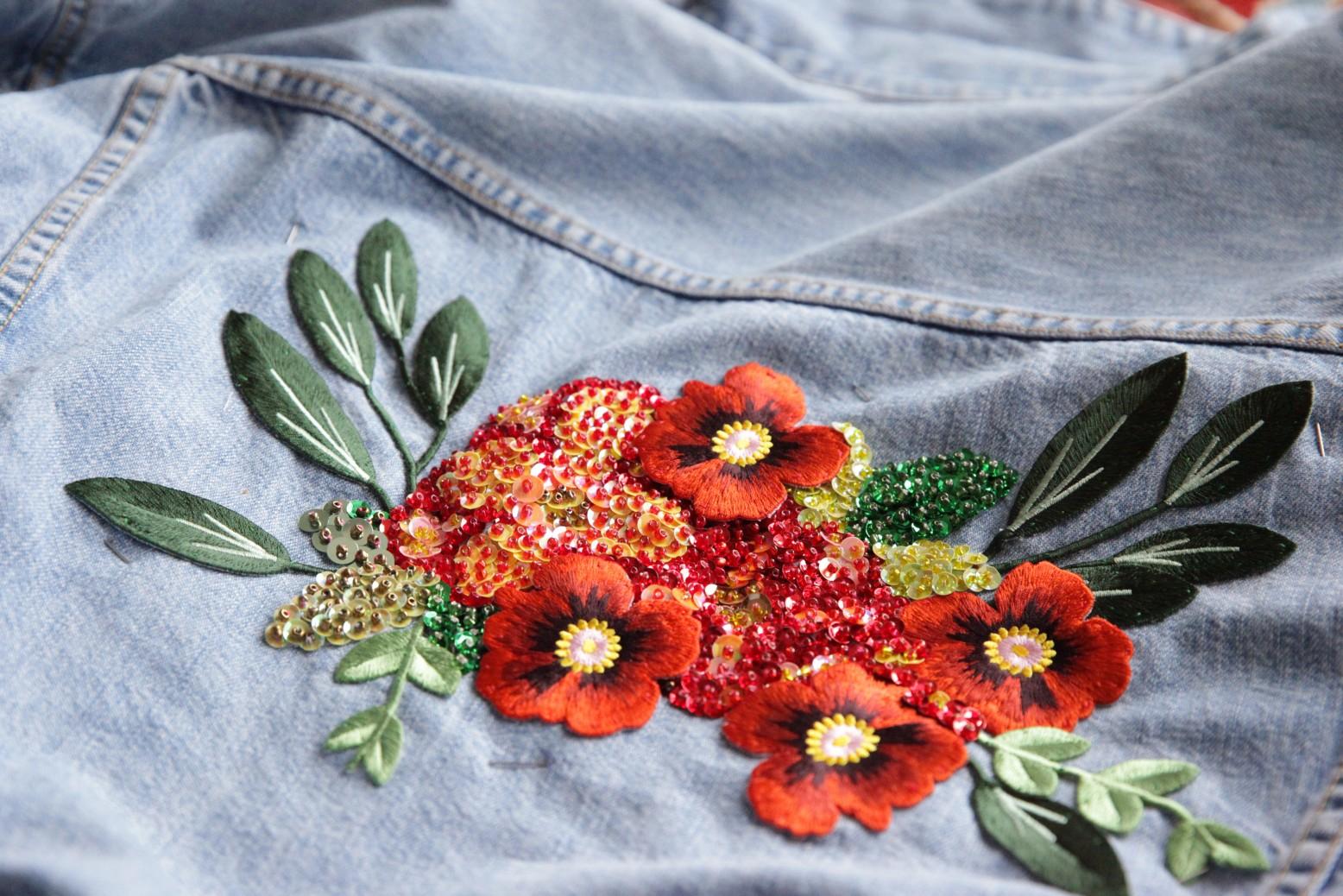 Вышивка бисером на джинсы своими руками схемы