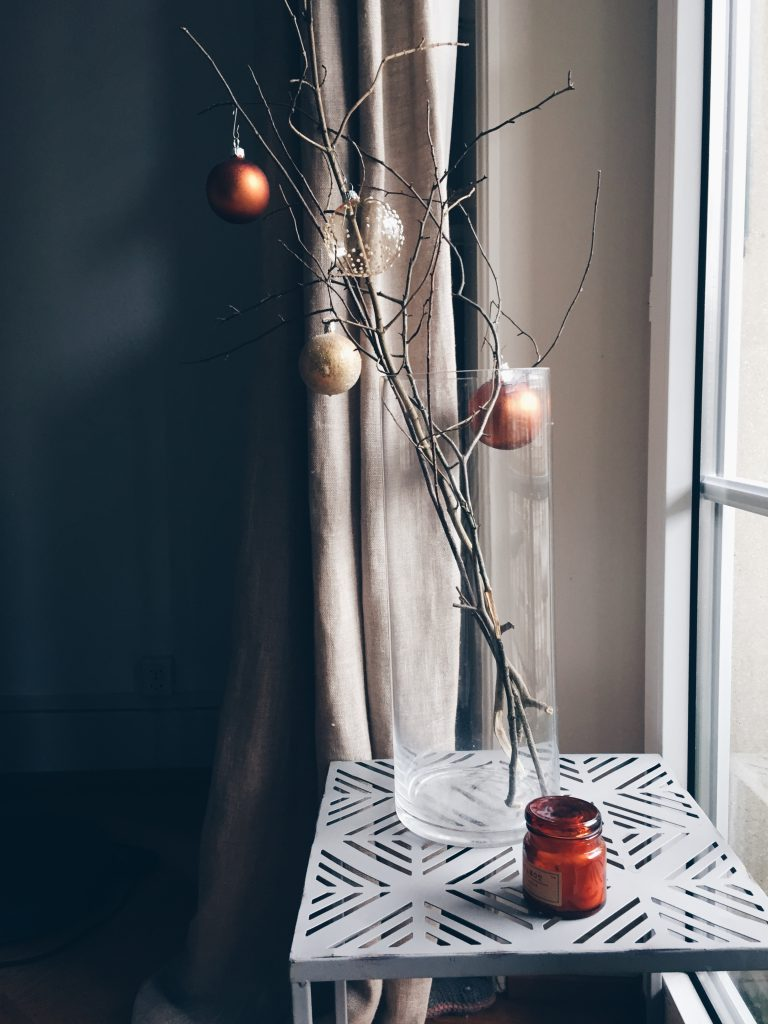 DIY last minute christmas decor ideas - the illuminated branch