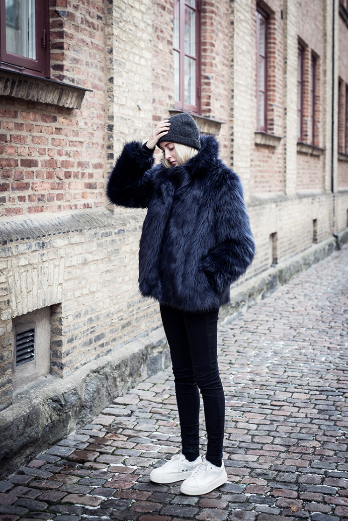 shearling faux fur coat to enhance your winter look