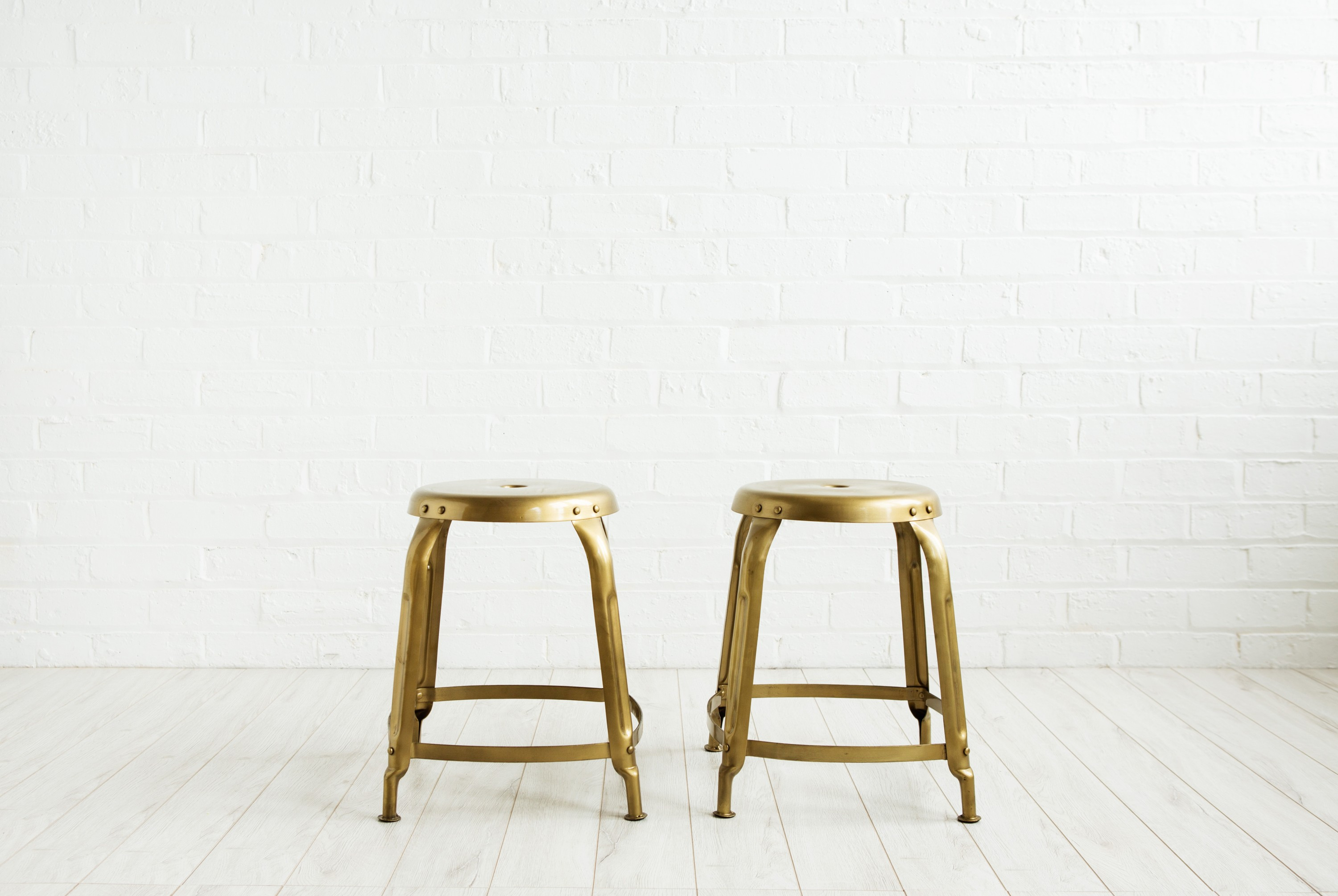Pair of Gold Stools - vintage and antique furniture shop ceraudo