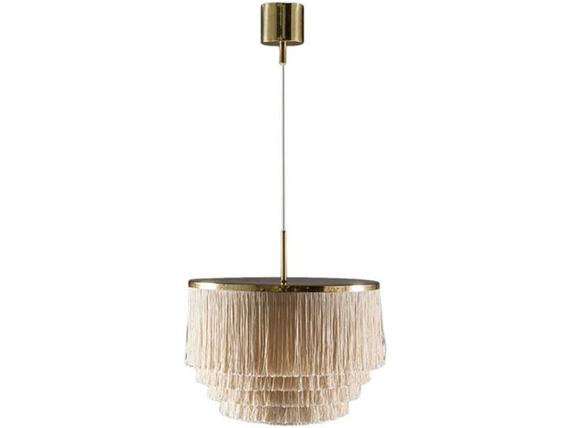 fav eshops pamono - Swedish Pendant in Brass with Silk Fringes by Hans-Agne Jakobsson, 1960s