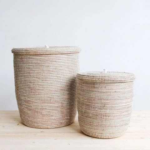 Flat Lid Woven Storage Hamper Set - White $ 195.00