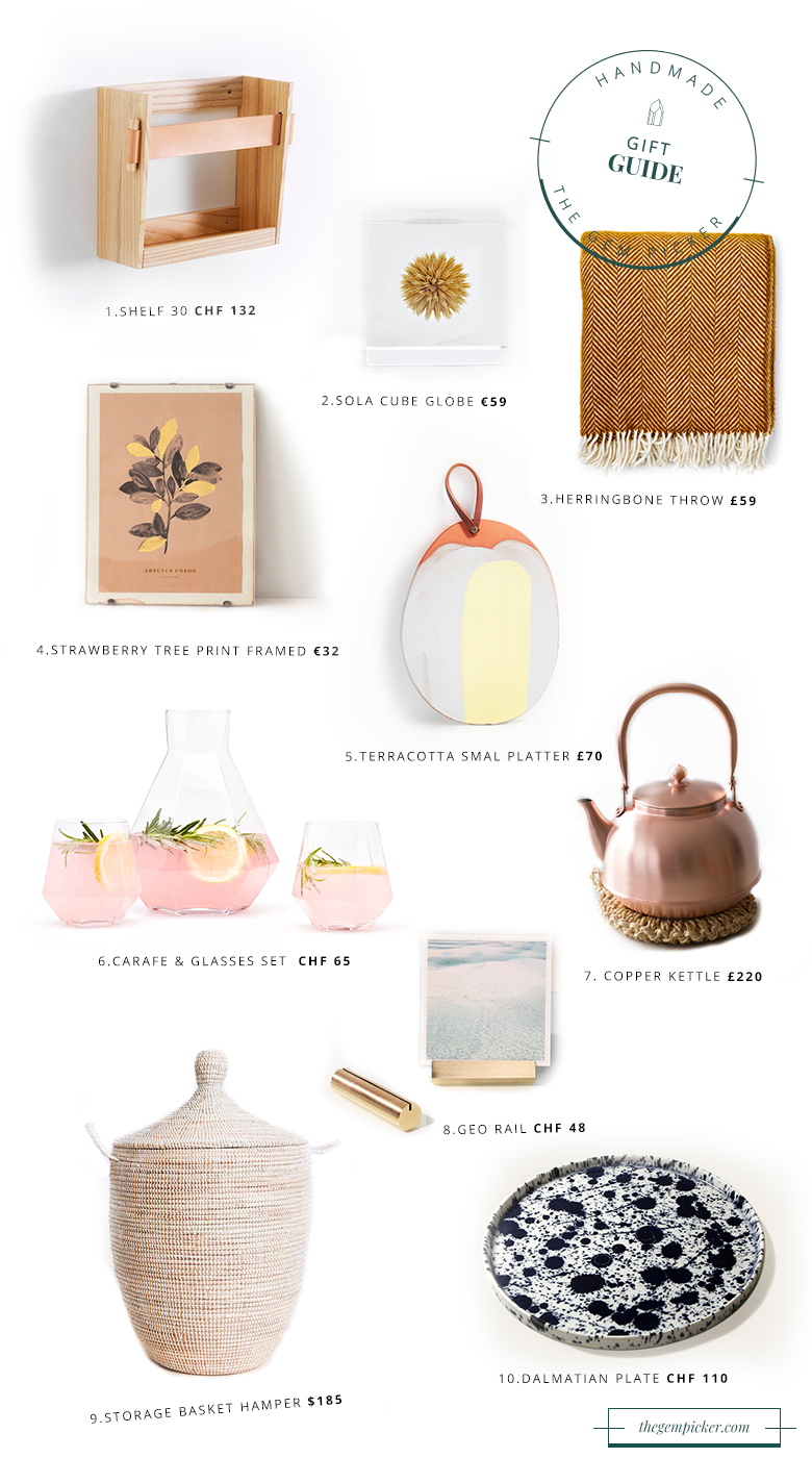 A list of handmade gifts for the home decor enthusiast