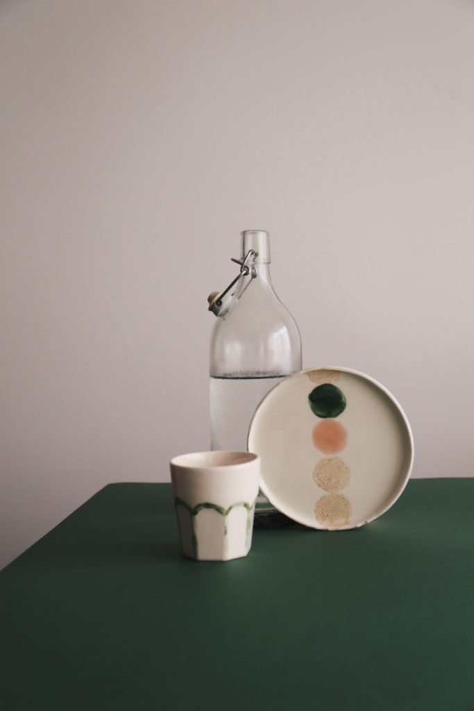 Ceramic Studio Maitoinen - plate. mug and bottle of water