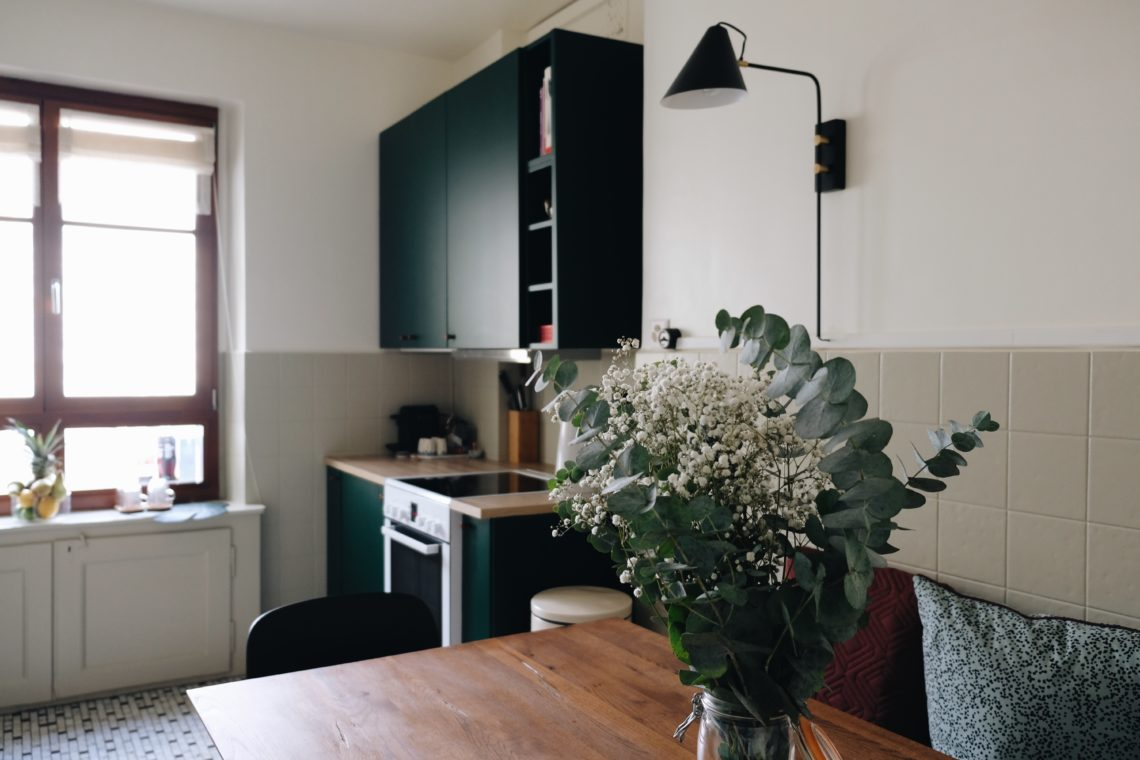 dark green ikea kitchen