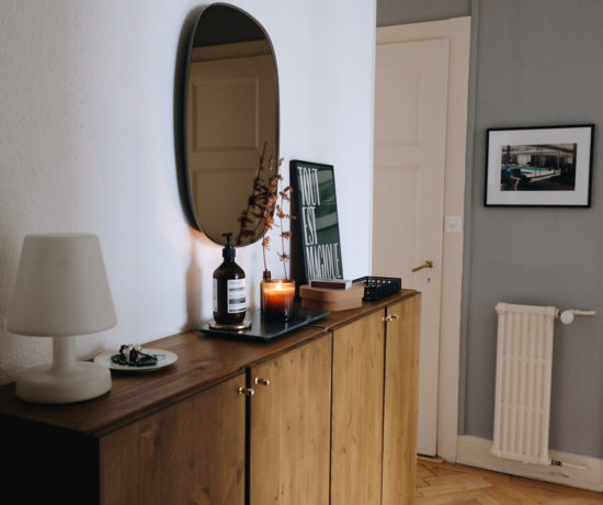 an entryway table styled